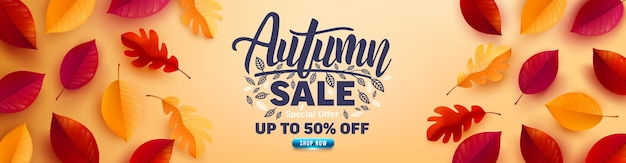 Autumn sale poster and banner template with autumn colorful leaves on yellow background Premium Vector