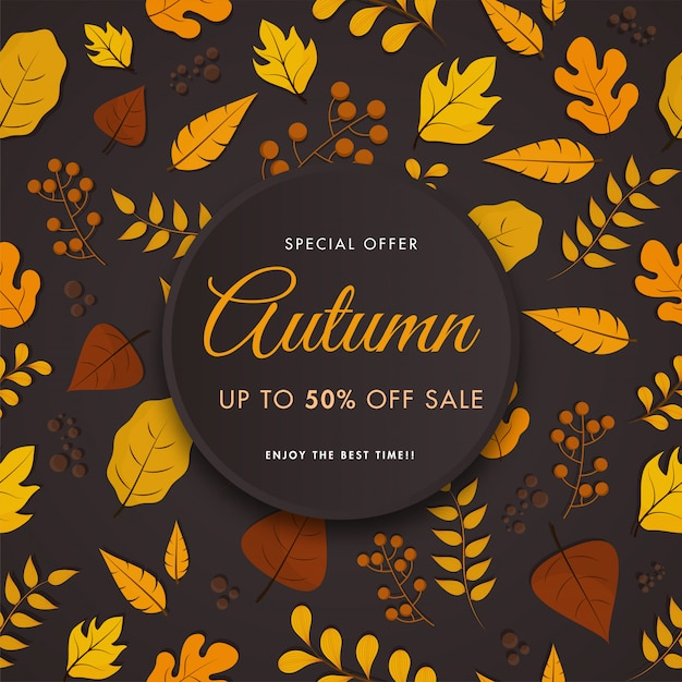 Autumn sale poster  , berry branches and various leaves decorated on dark brown background. Premium Vector
