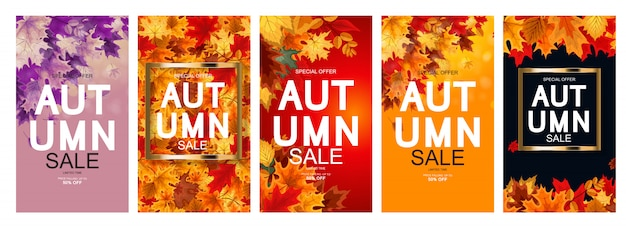 Autumn sale poster collection Premium Vector