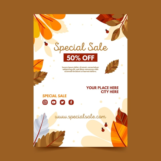 가을 판매 포스터 템플릿 프리미엄 벡터