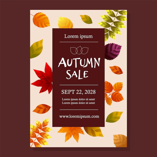 Autumn sale poster with leaves Premium Vector