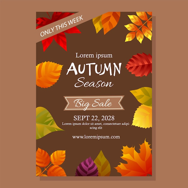 Autumn sale poster with leaves Free Vector
