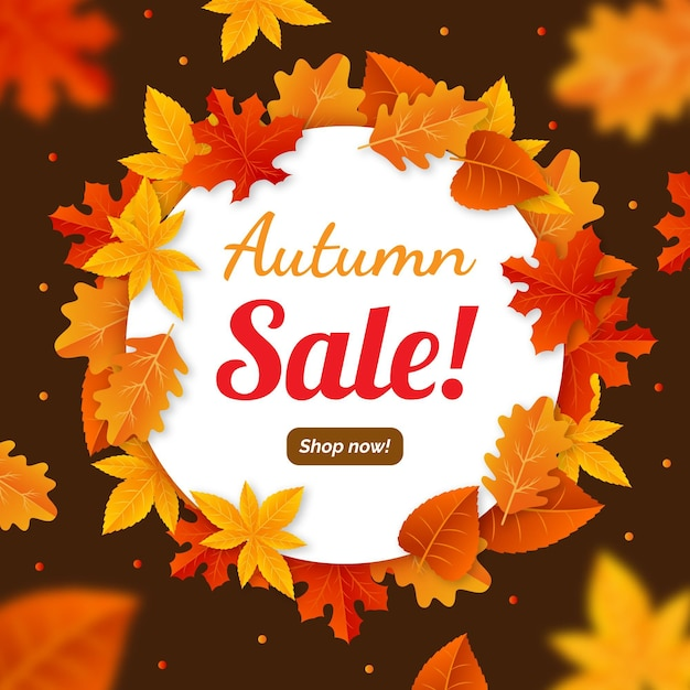 Autumn sale promotion advertise illustrated Free Vector