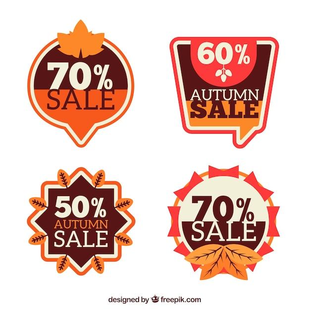 Autumn sale retro stickers pack