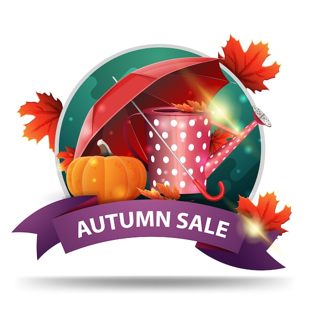 Autumn sale, round discount clickable web banner with ribbon Premium Vector