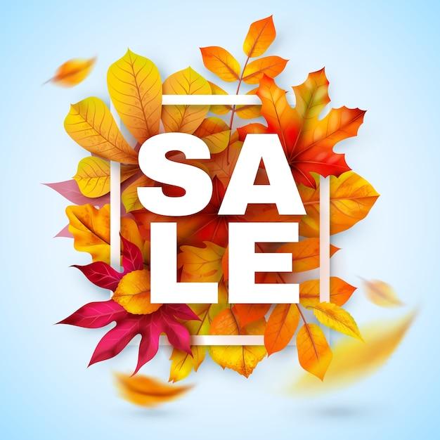 가을 세일. 빨간색과 노란색 현실적인 잎으로 계절 가을 프로모션. 추수 감사절 10 월 할인 제공. 특별 마케팅 소매를위한 가을 시즌 배너 프리미엄 벡터