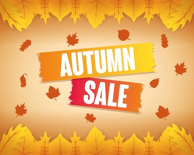 Autumn sale seasonal label Free Vector