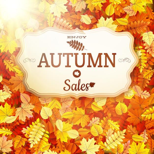 秋のセール看板。 Premiumベクター