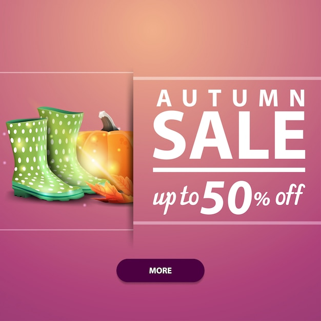 Autumn sale, square banner for your website, advertising and promotions with rubber boots Premium Vector