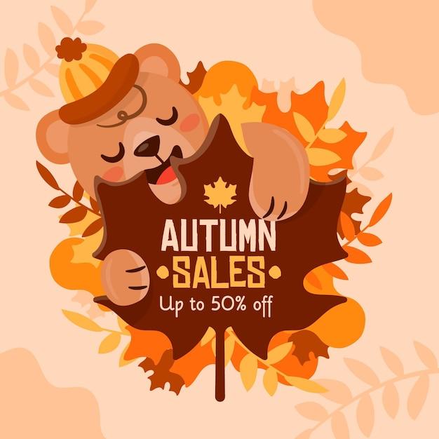 Осенняя распродажа прямоугольный баннер с мишкой Бесплатные векторы