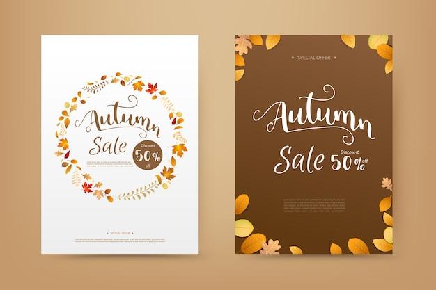 Осенняя распродажа тег баннер обложка с осенними сухими листьями, падающими на белом фоне Premium векторы