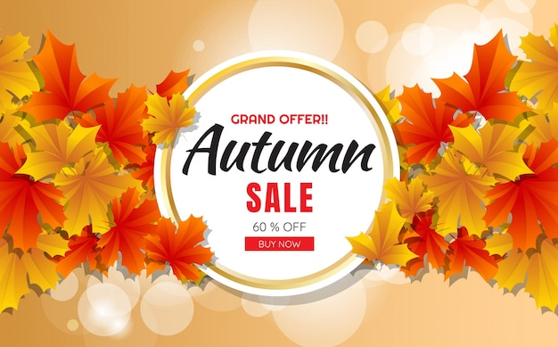 autumn sale template banner Vector background Free Vector