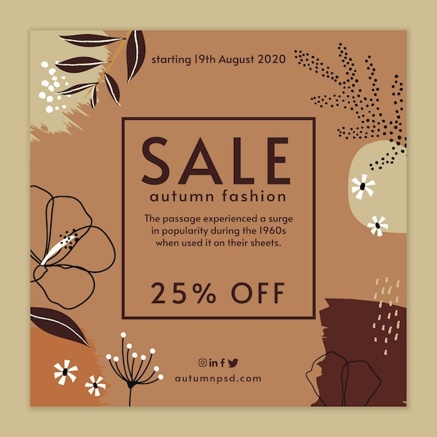 Volantino quadrato modello autunno vendita Vettore gratuito