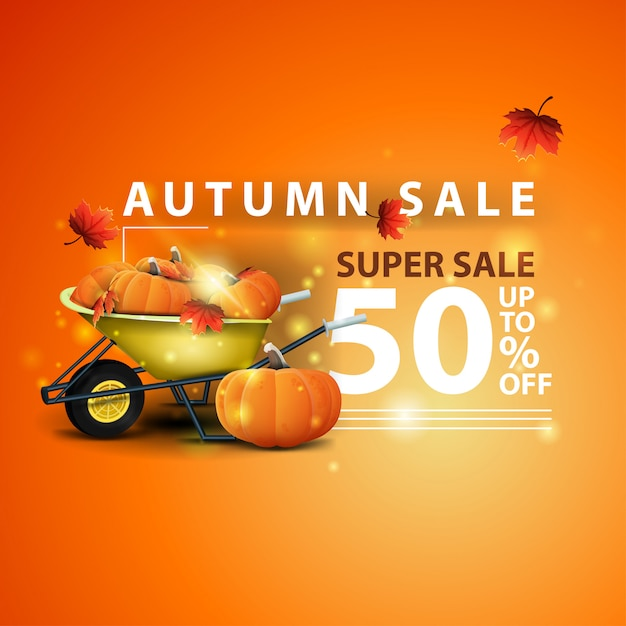 Autumn sale, two horizontal discount banners in the form of a ribbon with garden wheelbarrow Premium Vector