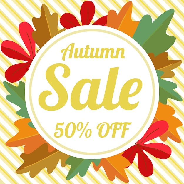 Autumn sale vector flyer template with lettering Premium Vector