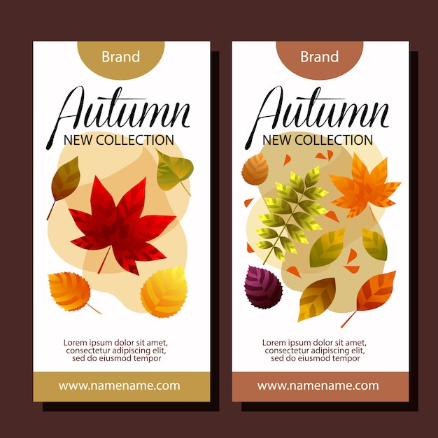 Autumn sale vertical banner templates Free Vector
