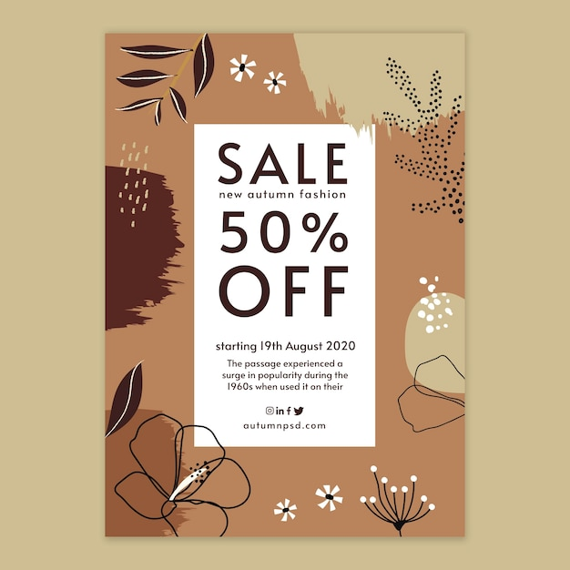 Autumn sale vertical flyer template Free Vector