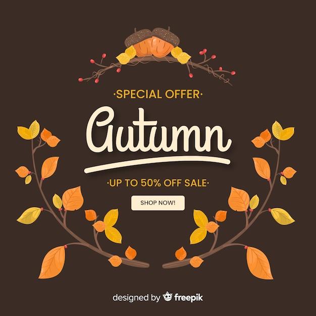 Autumn sale web template Free Vector