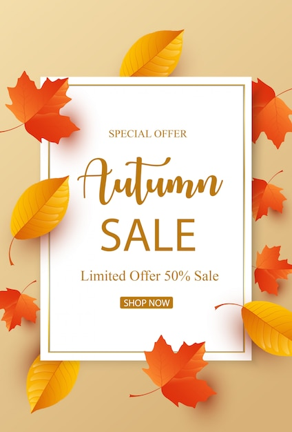 Autumn sale with colorful leaves Premium Vector