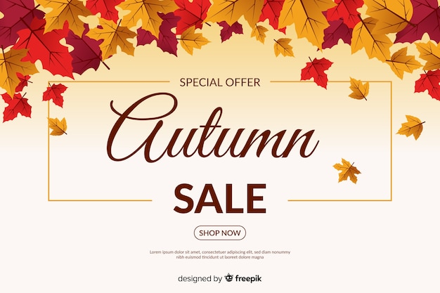 Autumn sales background in flat style Free Vector
