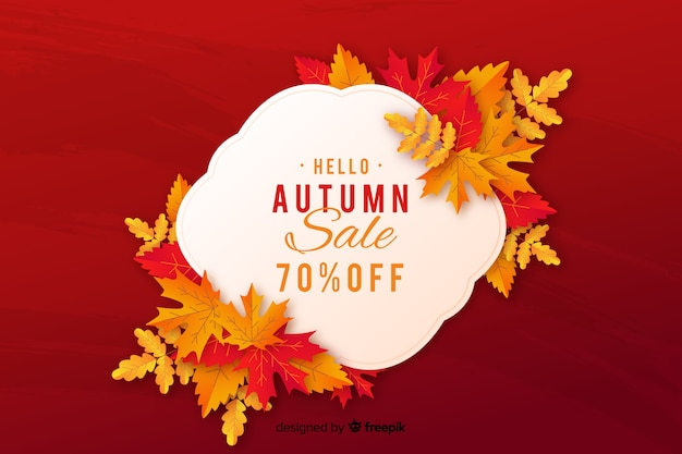 Autumn sales background flat style Free Vector