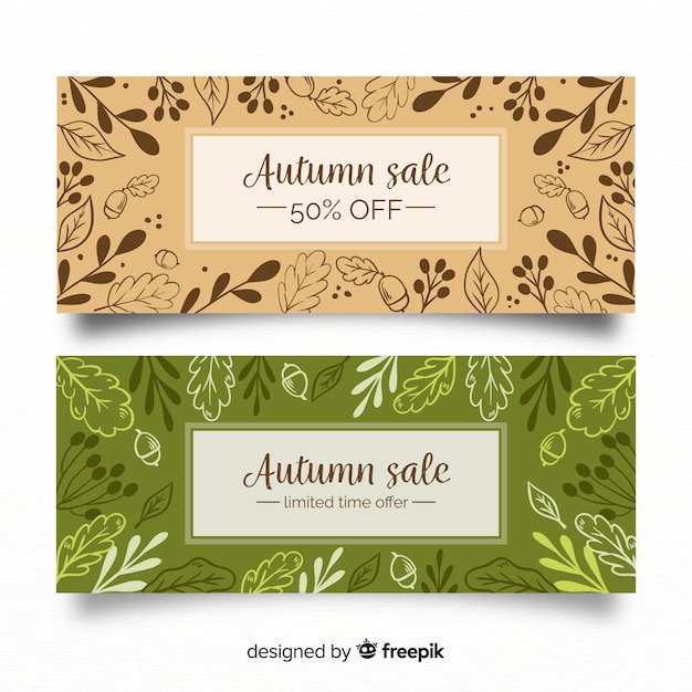 autumn sales banners with fall leaves vector free download