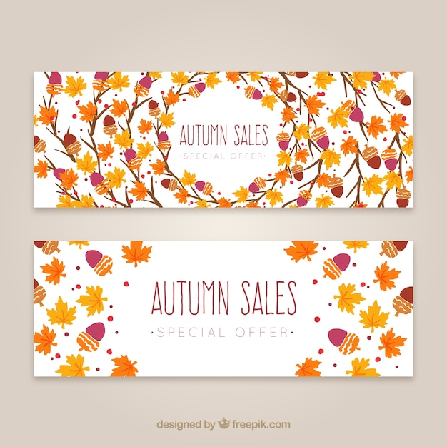 Autumn sales leaves banners