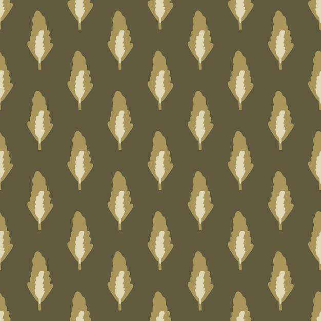 Осенний бесшовный ботанический узор с лесными листьями в коричневых тонах. темный рисованной цветочный фон. идеально подходит для обоев, оберточной бумаги, текстиля, ткани. иллюстрации. Premium векторы