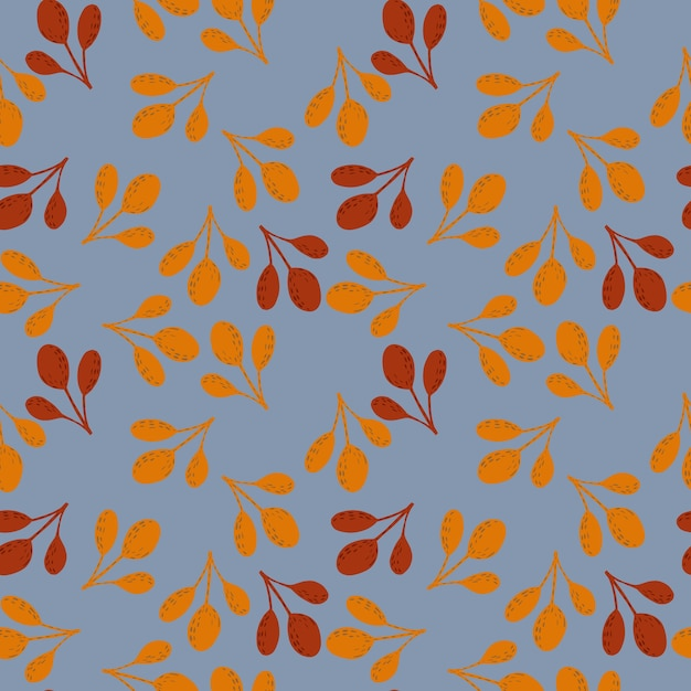 Autumn seamless doodle patern with orange and maroon colored fall branches. random ornament on blue background. stock illustration. Premium Vector