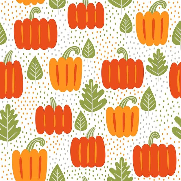 가 완벽 한 패턴입니다. 잎과 호박 프리미엄 벡터