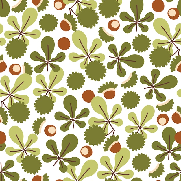 栗の葉と馬栗の果物と秋のシームレスパターン Premiumベクター