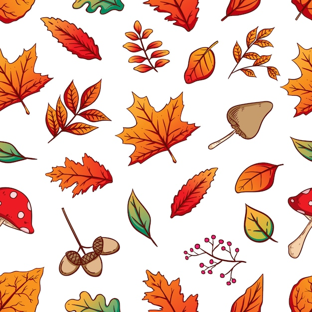 Autumn seamless pattern with colorful autumn leaves on white background Premium Vector