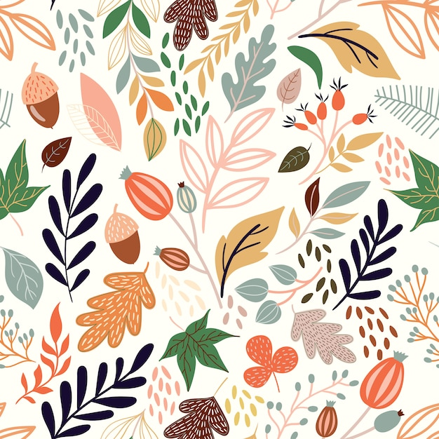 Autumn seamless pattern with decorative seasonal elements Premium Vector
