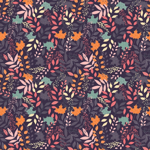 Autumn seamless pattern with floral decorative elements Premium Vector