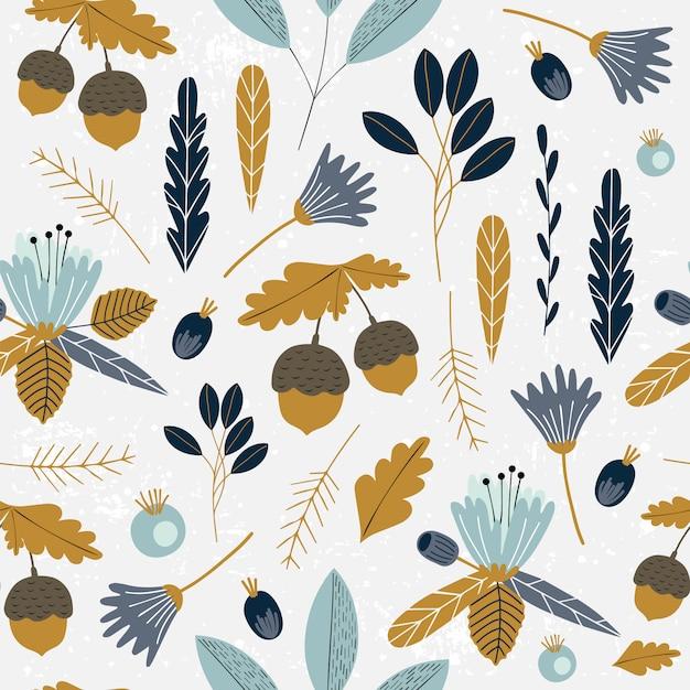 Autumn seamless pattern with florals. Premium Vector