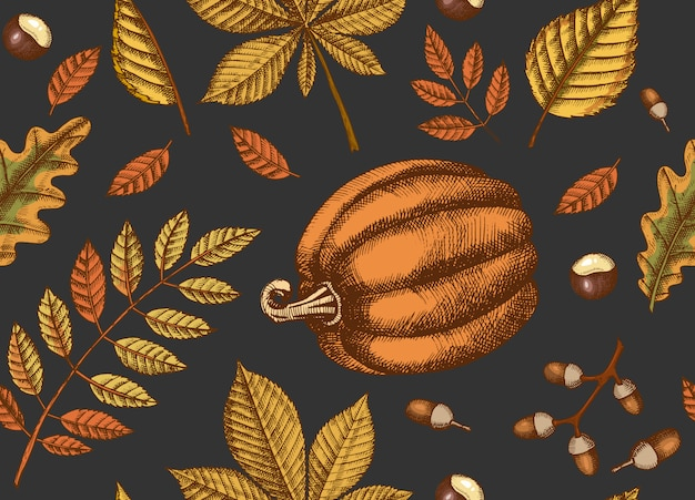 Autumn seamless pattern with  hand drawn leaves and pumpkins. leaves of maple, birch, chestnut, acorn, ash tree, oak. sketch.  for wallpaper Premium Vector