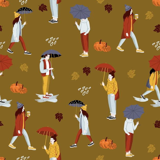 Autumn seamless pattern with people. Premium Vector