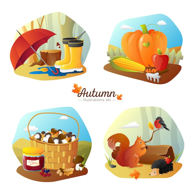 Autumn season 4 icons square poster with countryside harvest Free Vector