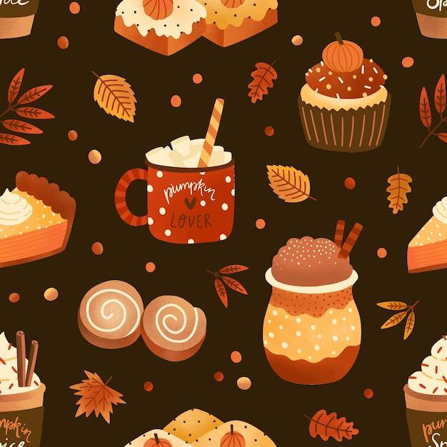 Autumn season dessert and drink flat vector seamless pattern Premium Vector