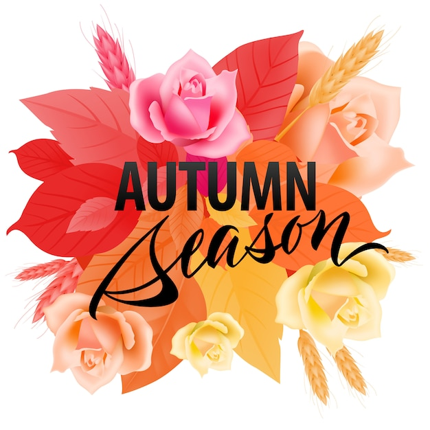 Autumn season lettering with colorful leaves.\ Modern creative inscription