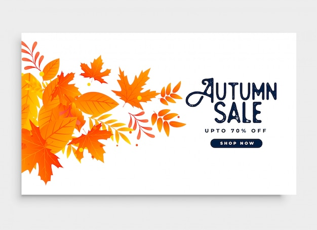Autumn season sale banner design with\ leaves