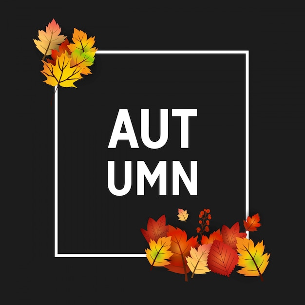 Autumn season with creative design and dark background vector Free Vector