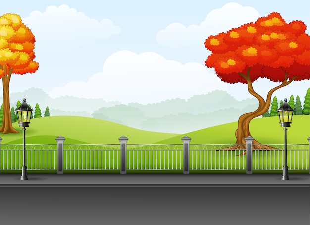 Autumn season with the road landscape background Premium Vector