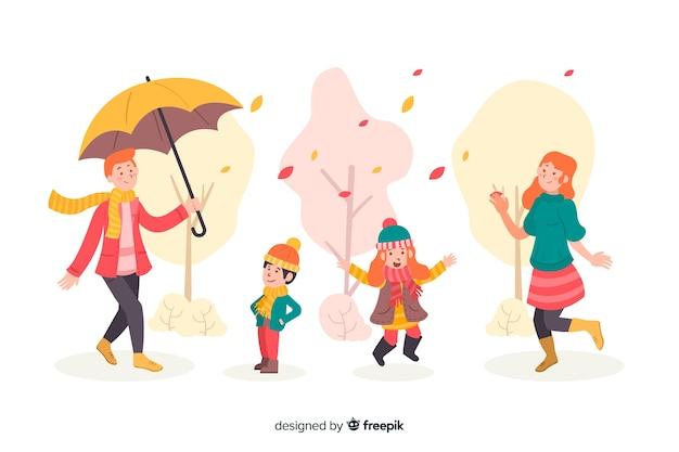 Autumn seasonal clothes illustration Free Vector