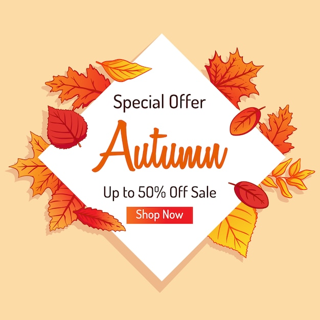 Autumn shopping banner for discount with colorful leaves background Premium Vector