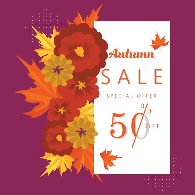 Autumn special offer discount banner and background. Premium Vector