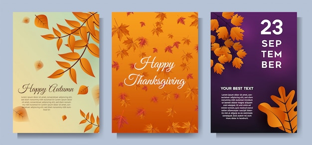 Autumn special offer leaves sale banners or party invitation background Premium Vector
