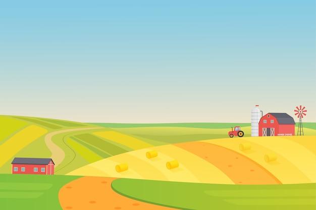 農業用車両、風車、サイレージタワー、干し草のある秋の日当たりの良いエコ収穫農場の風景。カラフルなイラスト Premiumベクター