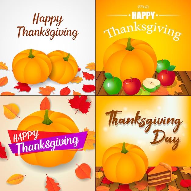 Осенний день благодарения баннер Premium векторы