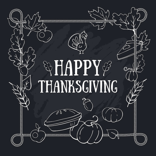 Autumn thanksgiving greeting composition card template with lettering on blackboard and rope frame Premium Vector
